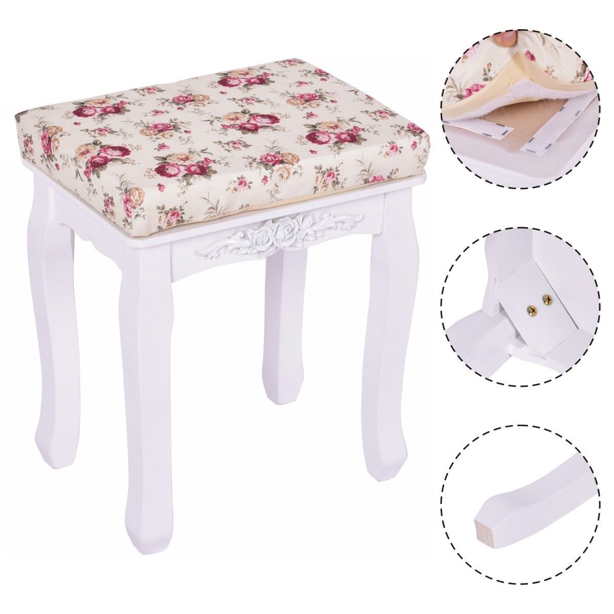 Costway White Vanity Wood Dressing Stool Padded Chair Makeup Piano Seat  With Cushion