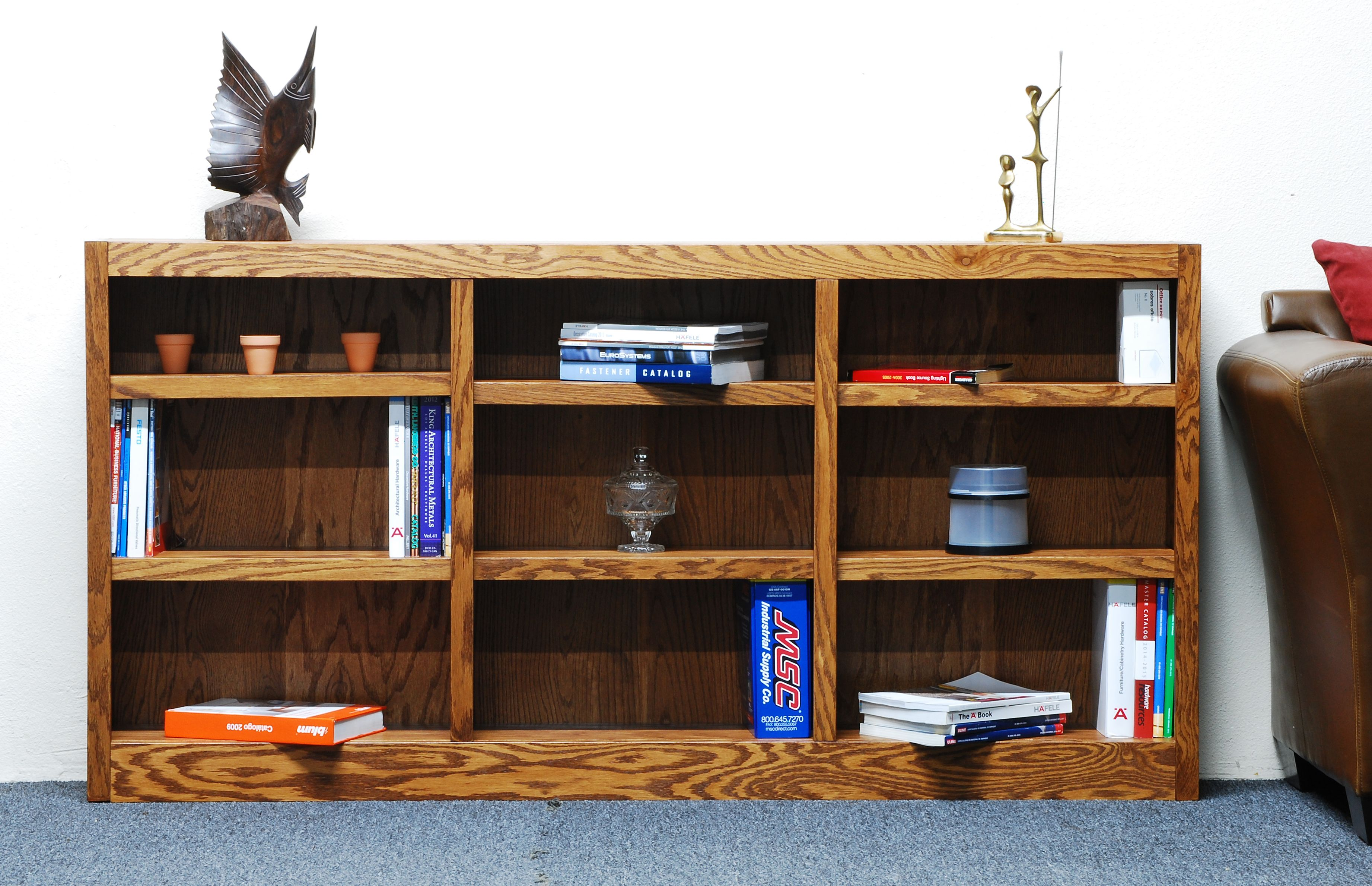 Concepts in Wood 9 Shelf Triple Wide Wood Bookcase, 36 inch Tall