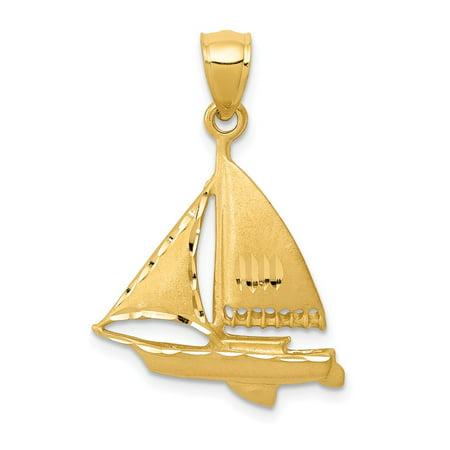 Roy Rose Jewelry 14k Yellow Gold Satin Diamond-cut Sailboat Pendant 14k Gold Sailboat Pendant