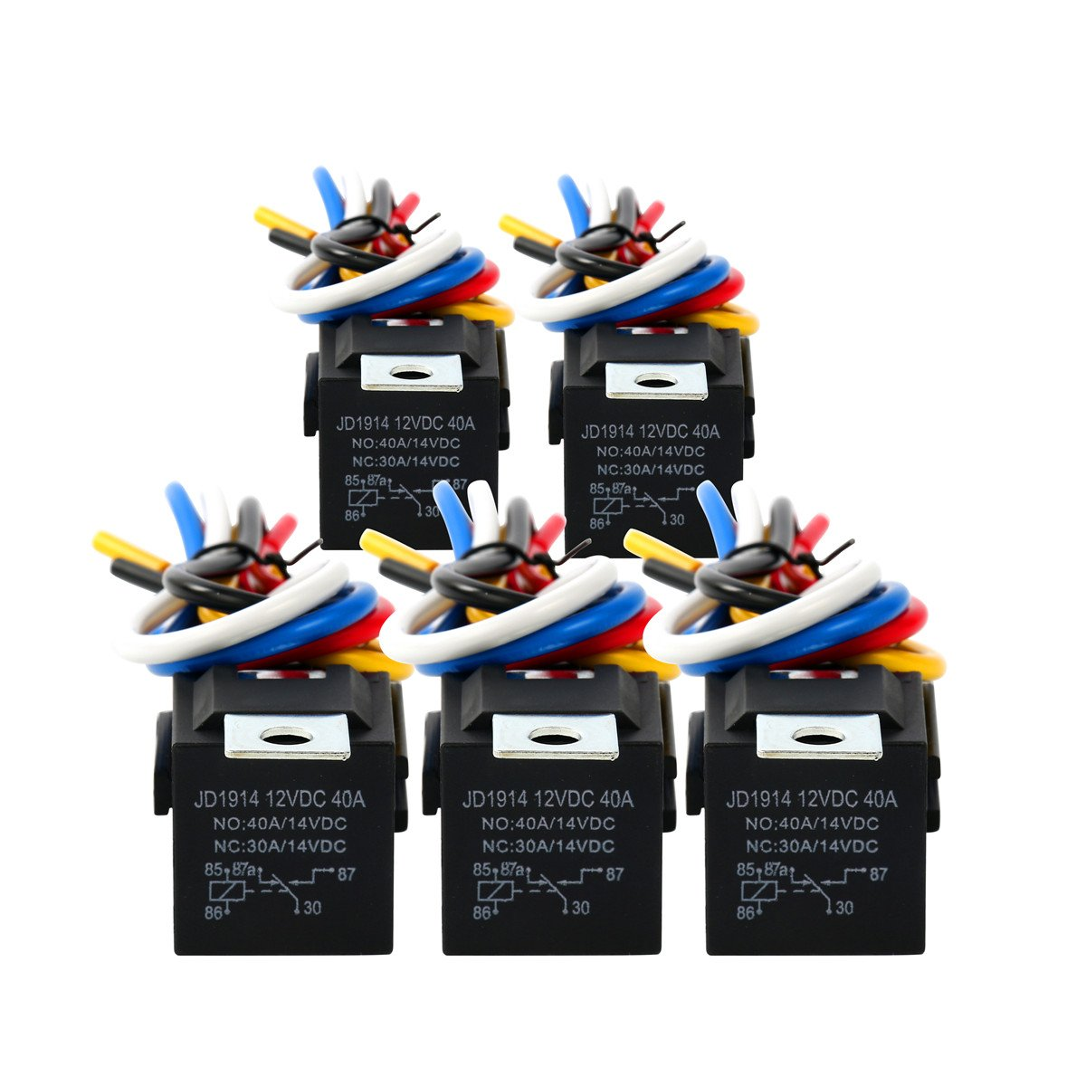 8milelake Spdt Automotive Relay 12v 30  40 Amp 5 Pack With