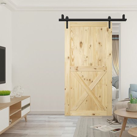 "BELLEZE 42"" x 84"" inches Natural Pine Wood Unfinished Sliding Barn Door, Lower X"