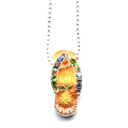 Hawaii Tropical Sparkling Flip Flop with Pineapple Necklace with Chain in Golden