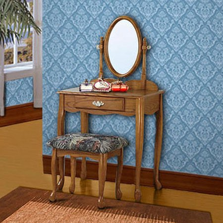 Swell 3 Piece Vanity Mirror And Bench Set Nostalgic Oak Gmtry Best Dining Table And Chair Ideas Images Gmtryco