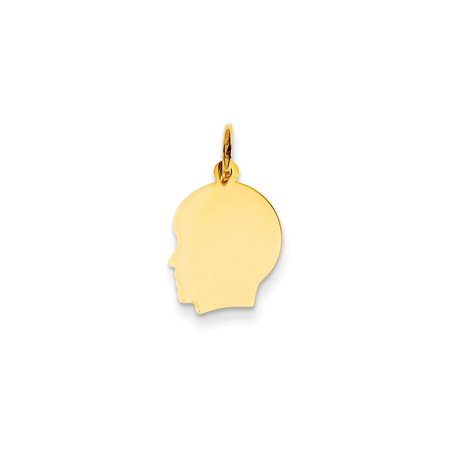 - 14k Yellow Gold Plain Small Facing Left Engravable Boy Head Charm