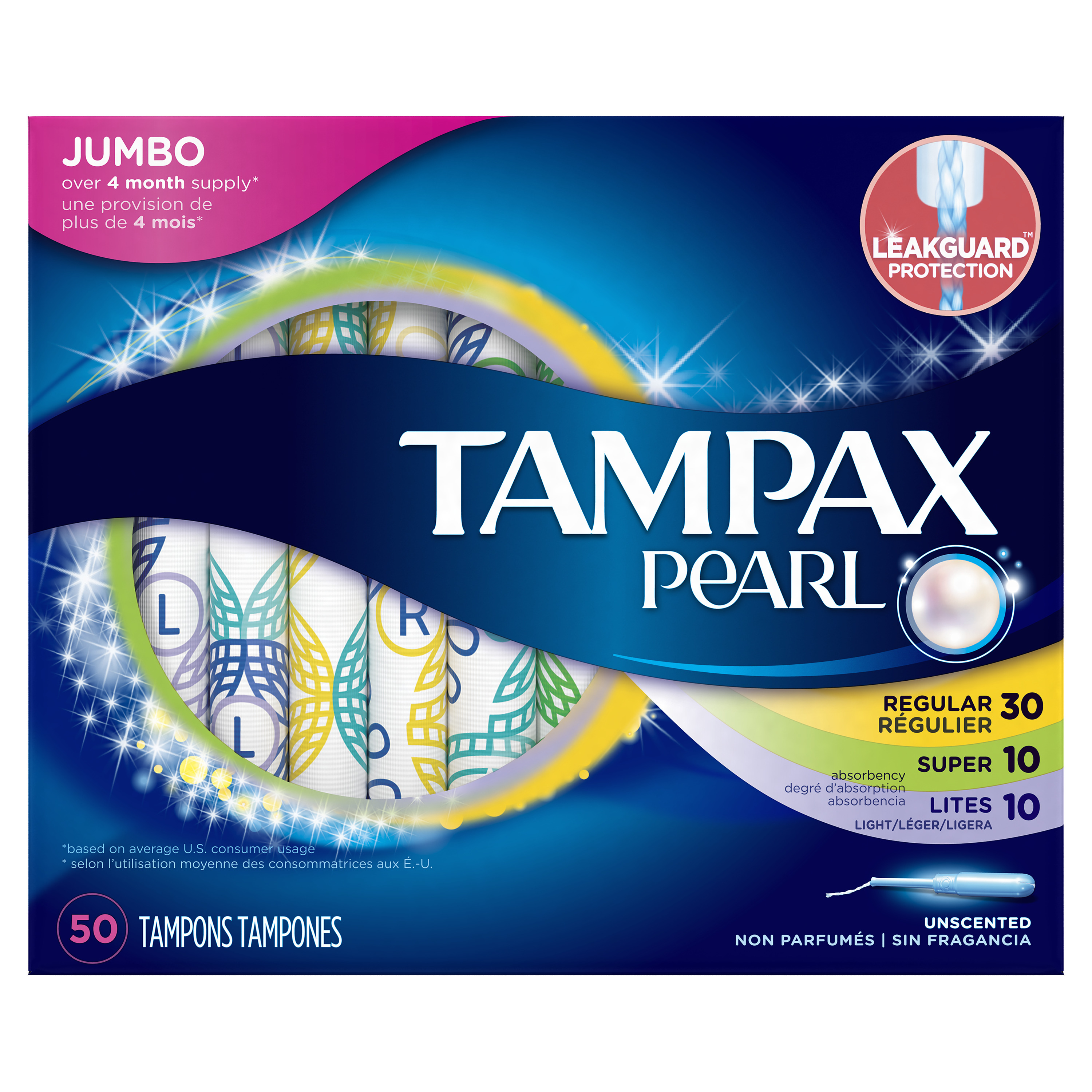 Tampax Pearl Plastic Tampons Triplepack (Light/Regular/Super), Unscented, 50 Count