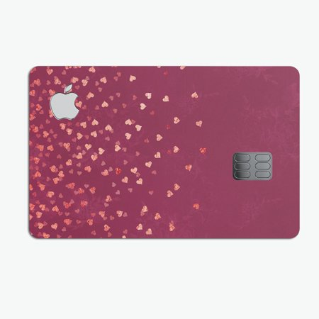 Pink and Orange Micro hearts Over Vintage Floral - Premium Protective Decal Skin-Kit for the Apple Credit Card ()