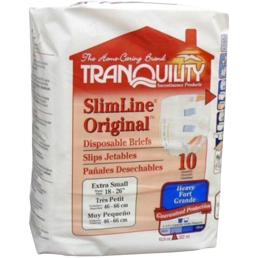 Tranquility Slimline Original Extra Small Disposable Briefs, 10 count