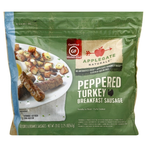 Applegate Naturals Peppered Turkey Breakfast Sausage, 20 oz