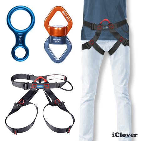 Safety Harness Bust Seat Belt Rock Climb Rappelling Rescue Equipment   30Kn Safety Climbing Swing Swivel Rotational Device   Rescue Descender 35Kn   3500Kg Aluminum Figure 8 Rescender Belay Device