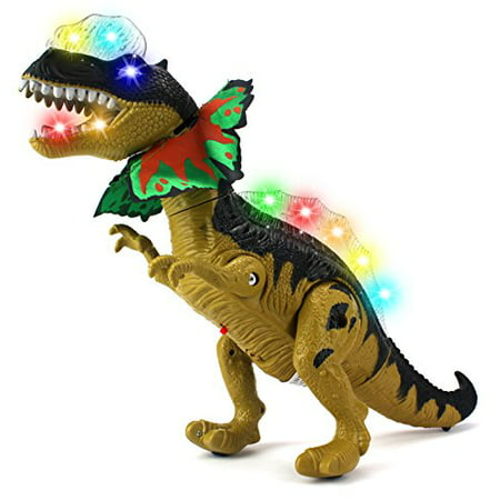 Dino Valley Dilophosaurus Battery Operated Walking Toy Dinosaur Figure w/ Realistic Movement, Lights and Sounds (Colors May Vary) - Realistic Dinosaur