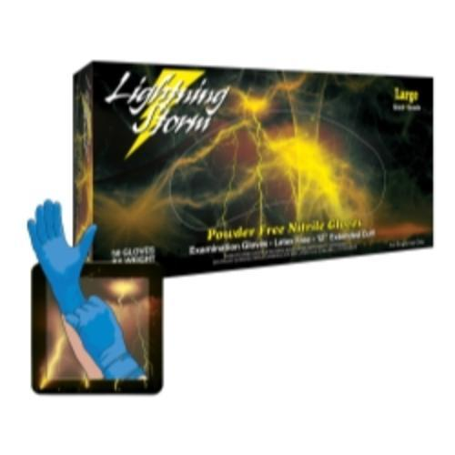 "Lightning Storm 12"" Powder Free Blue Nitrile Gloves, Large"