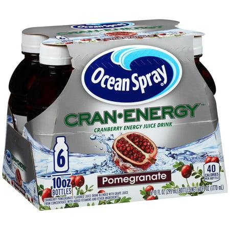 (4 Pack) Ocean Spray Cran-Energy Juice, Pomegranate, 10 Fl Oz, 6