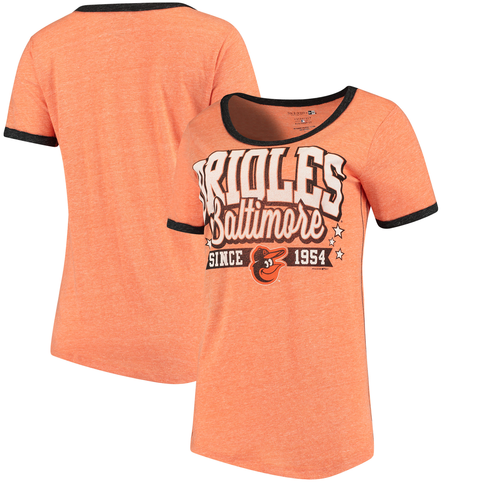 Baltimore Orioles 5th & Ocean by New Era Women's Jersey Ringer Tri-Blend T-Shirt - Orange/Black