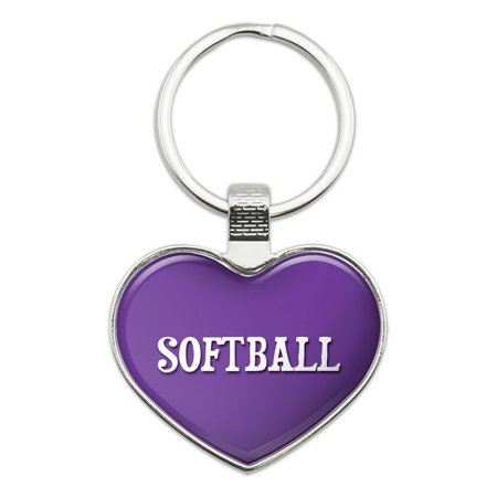I Love Softball Heart Metal Key Chain - Softball Keychains