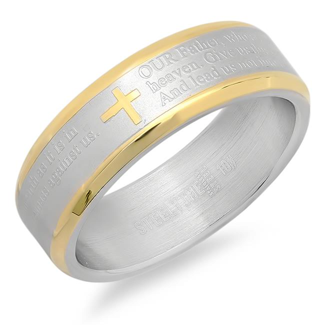 Two-Tone Lords Prayer Ring In English, Size - 7