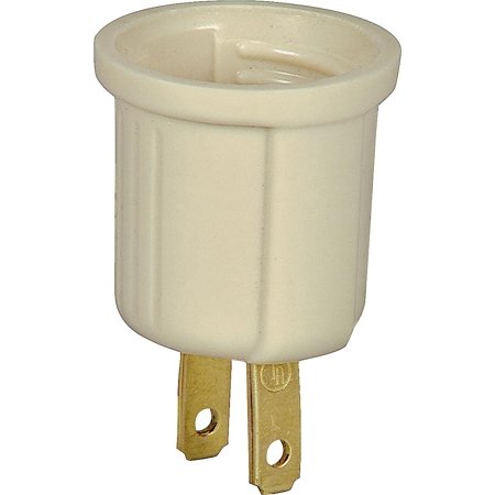 (Cooper 738V-BOX Polarized Medium Base Outlet Adapter, 125 V, 1 Outlet, Ivory)