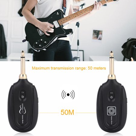 Zerone Wireless Guitar System M7 Rechargeable UHF Audio Transmission Set with Transmitter Receiver for Electric Guitar Bass Violin Musical Instrument by Hoison Music