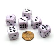 Chessex Pack of 6 Heart 'Ice Cream' 16mm D6 Dice - Purple with Black Hearts #XM0617