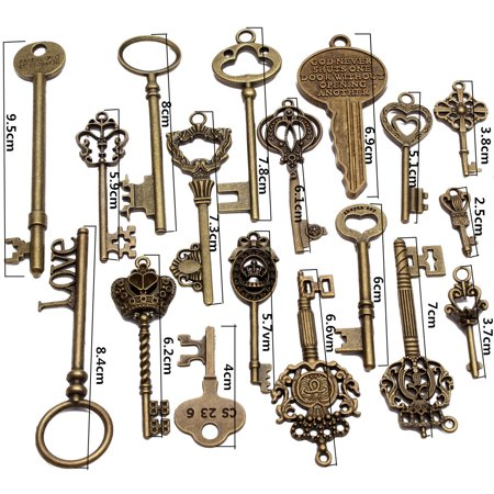 Key Charms (18/69/70Pcs Jewelry Making Charms Craft keys Decorative Key Skeleton Bronze Key Vintage Antique Bronze Natural Brass Style for Wedding Graduation Gift)