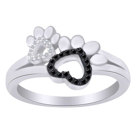 - Round Cut White & Black Diamond Paw Print Promise Ring In 14K White Gold Over Sterling Silver