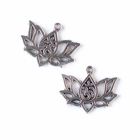 Cherry Blossom Beads 16x20mm Silver Pewter Om Lotus Flower Charm - 10 per bag