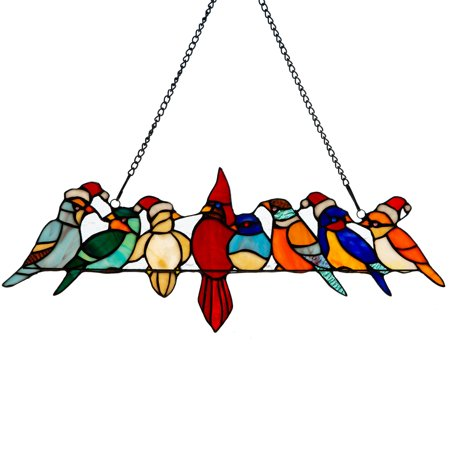River of Goods Santa Birds on Wire Stained Glass Window (Birds Stained Glass)