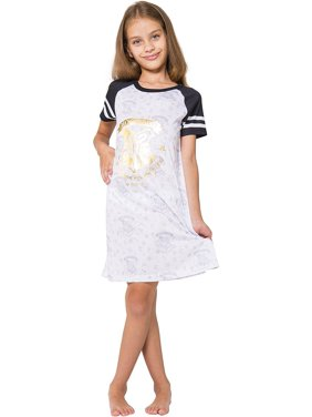 Harry Potter 'Gold Crest' Short Sleeve Raglan Nightgown Pajama, White, 7/8