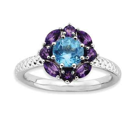 Sterling Silver Simulated Amethyst and Blue Simulated Topaz Ring - Size 8 Cut Amethyst Citrine Ring