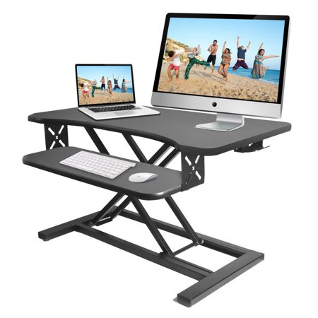 PYLE PDRIS12 - Standing Computer Desk / Monitor Desk - Height Adjustable Desktop Table Work Station with Keyboard Tray