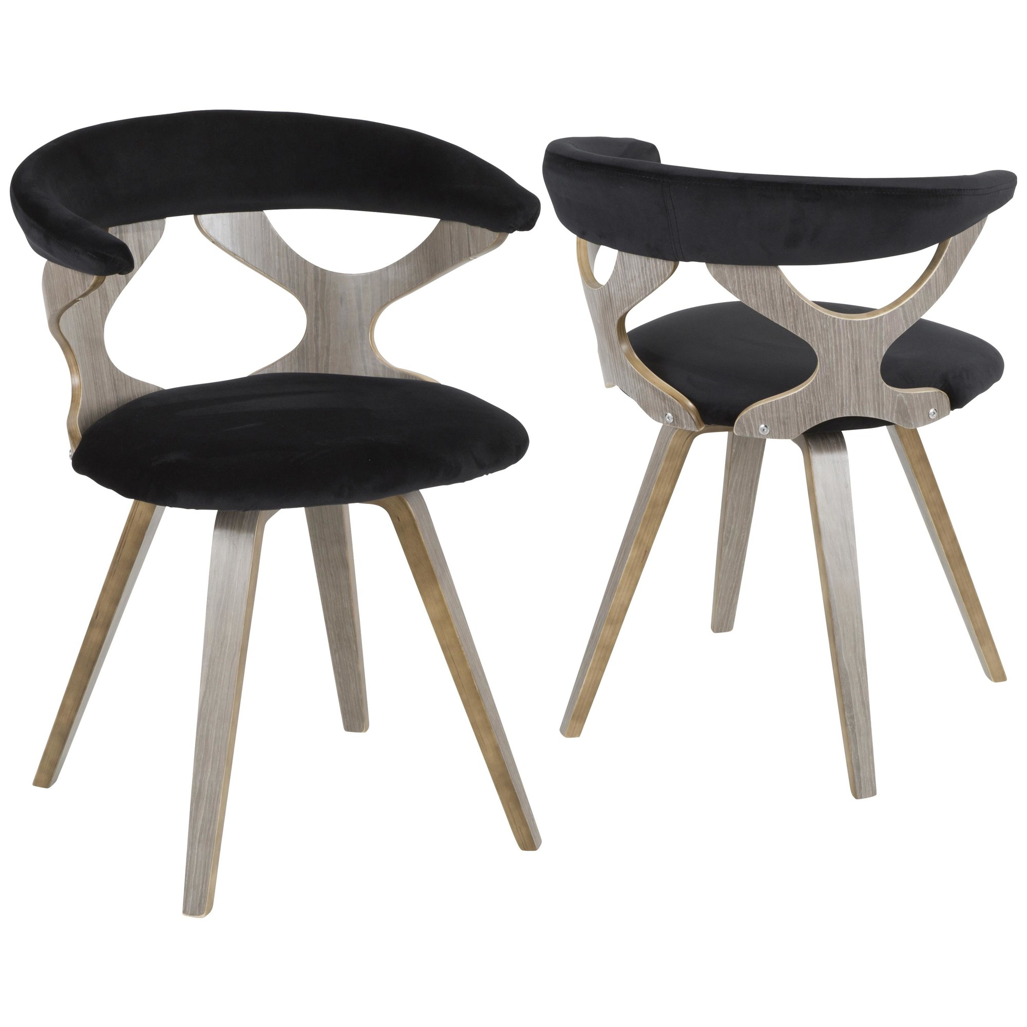 Gardenia Mid Century Modern Dining Accent Chair With Swivel In Light Grey Wood And Black Velvet By Lumisource Walmart Com Walmart Com