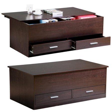 Brooklyn Coffee Table Set - Yaheetech Slide Top Trunk Coffee Table with Storage Box & 2 Drawers, Espresso Finish