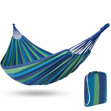 Best Choice Products Cotton Brazilian 2-Person Double Hammock Bed w/ Carrying Bag - Blue (Hammock Bed)