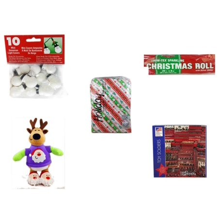Christmas Fun Gift Bundle [5 Piece] - 10 Mini Snowman Light Covers - Snow-Tex Sparkling  Roll 36