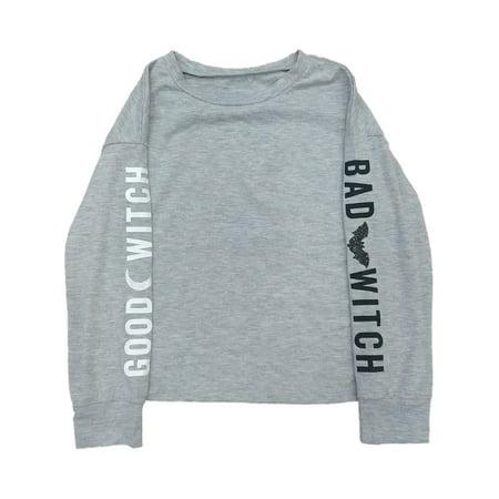 Good Bad Flicks Halloween (Girls Gray Good Witch Long Sleeve T-Shirt Bad Witch Halloween)