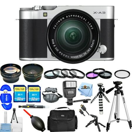 Fujifilm X-A3 Mirrorless Digital Camera with 16-50mm Lens (Silver) MEGA