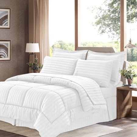 - Dobby Stripe Bed In A Bag 8 Piece Comforter Sheet Bed Skirt Sham Set King - White