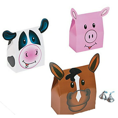 Lot of 12 Farm Animal Party Favors Boxes Pig Cow Horse