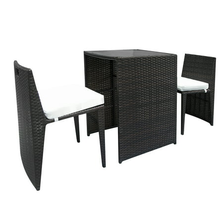 Clearance! 3PCS Wicker Patio Furniture, Durable Patio Conversation Sets, Stable Rattan Sofa Set with 2 Bar Chairs, 2 Removable Cushions and a Rattan Bar Table for Backyard Outdoor Porch Lawn , Q0413 ()