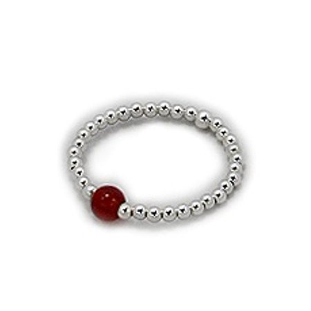 Stackable Stretch Ring with Sterling Silver Beads and Red Carnelian