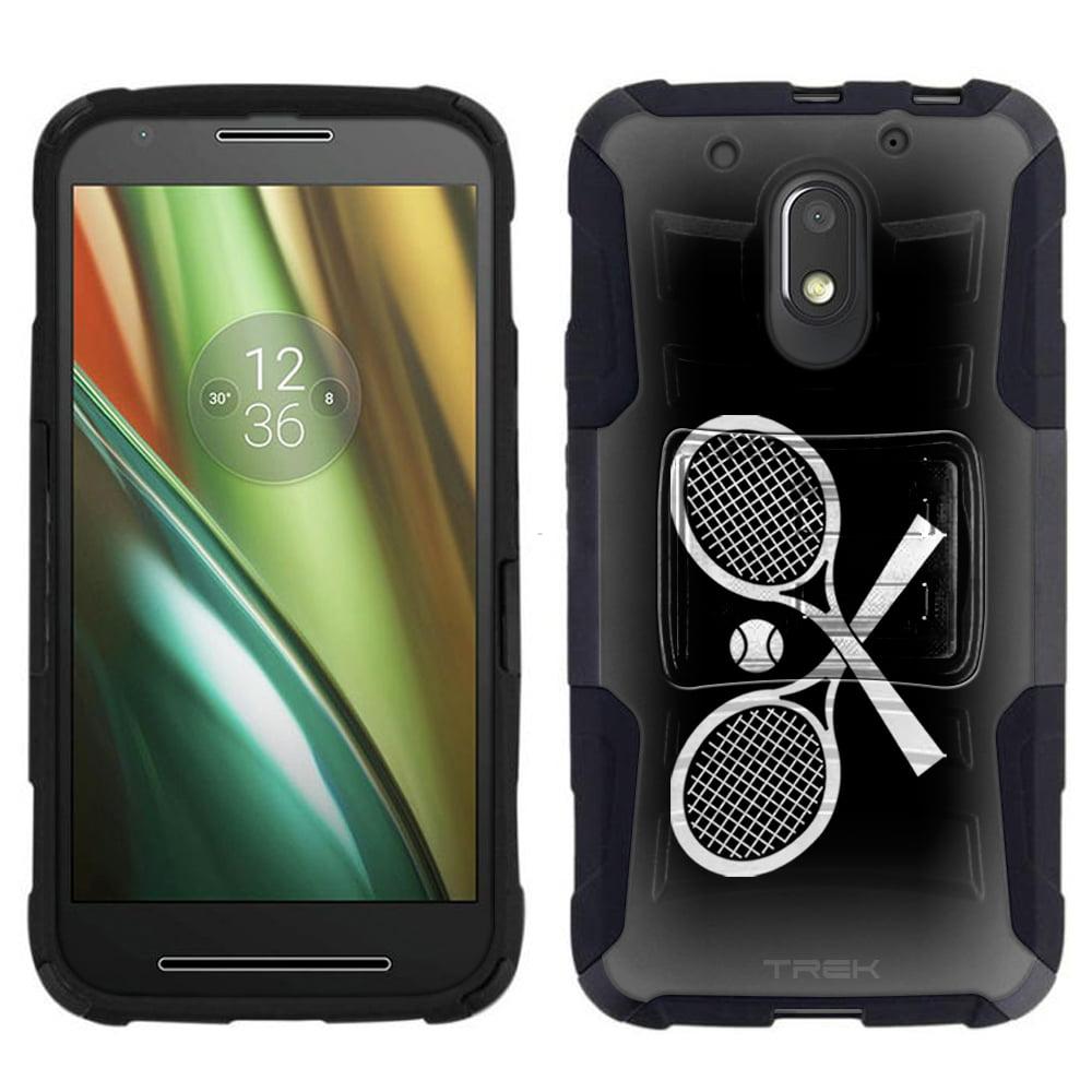 Motorola Moto E3 Armor Hybrid Case - Silhouette Cross Tennis Racquets on Black