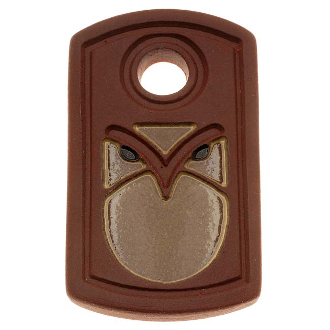 Clay River Designs Pendant, 26x45.5mm Terracotta Art Deco Owl, 1 Piece, Brown