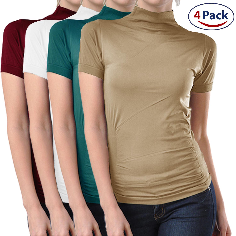 4 Pack Stretch Short Sleeve Mock Neck Turtleneck Blouse T...
