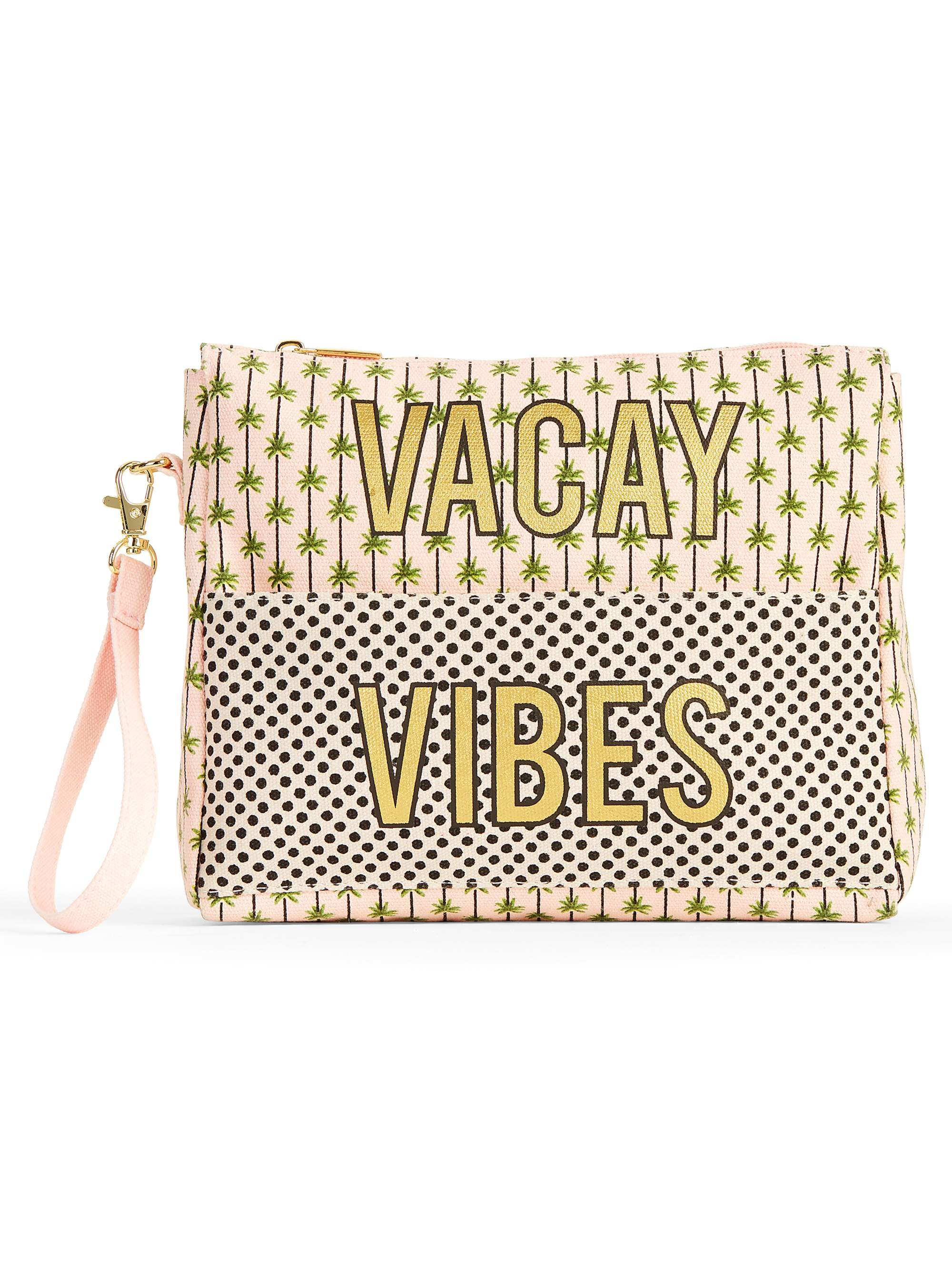 "No Boundaries Blush ""Vacay Vibes"" Wristlet Front Pocket Pouch"