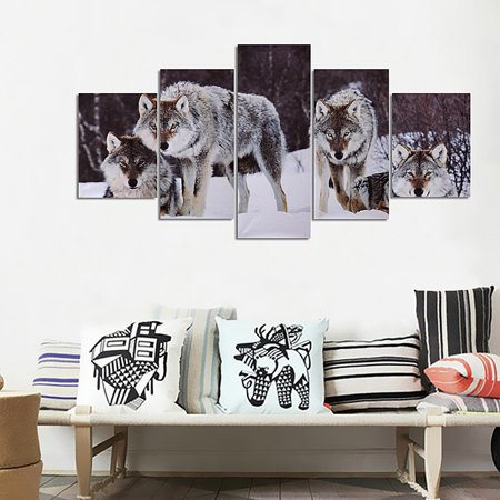 5 Panels Wolf Wall Hanging Canvas Oil Painting Picture Print Animals Wildlife Modern Art Home Hotel Decor Gift Unframed](Animal Print Decor)