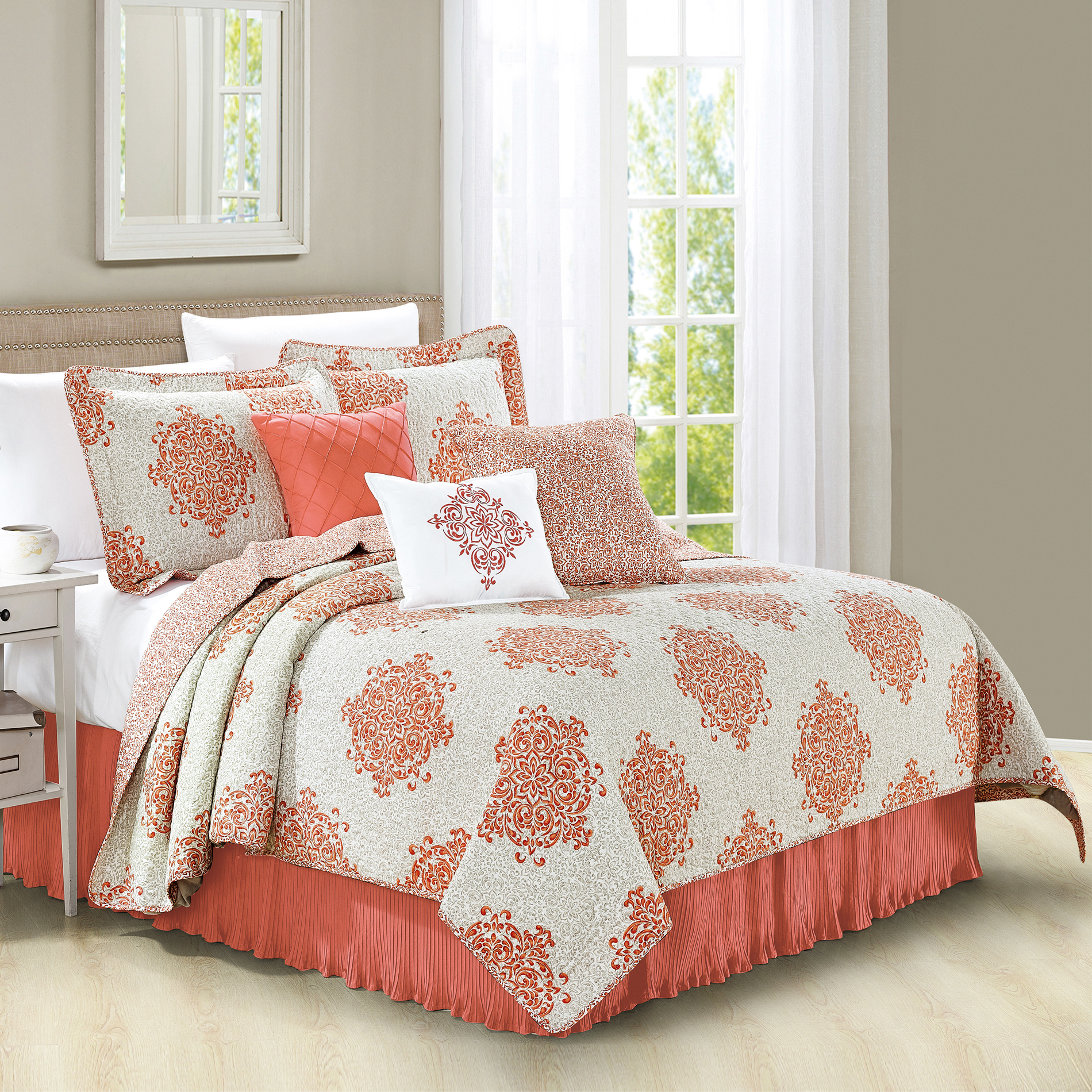 Serenta Chelsea 6 Piece Printed Quilted Microfiber Coverlet Bed Spread Set