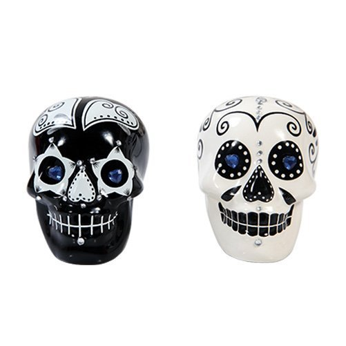 Day of Dead Sugar White & Black Skulls Salt & Pepper Shakers Set Rhinestone DOD by Pacific Gift
