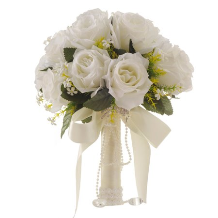 Crystal Double Flower - Romantic Wedding Bride Holding Bouquet Roses with Crystal Ribbon Artificial Flower Bouquet (White)
