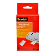 Scotch Thermal Laminating Pouches 25 Count, 2in x 4in Luggage Tag Size with Loop, 5 mil Thick