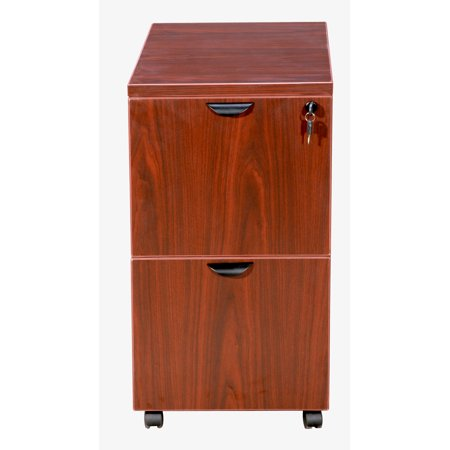 Fluted Cherry Pedestal - Cherry Mobile Pedestal Two Drawer File