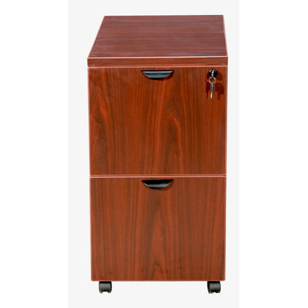 Cherry Mobile Pedestal Two Drawer (Fluted Cherry Pedestal)